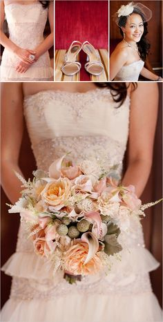 peach wedding bouquet...love the tiered dress. good shabby chic wedding blog post