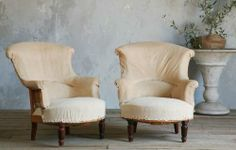 Gorgeous antique French Amelie Rose bergere in old tufted muslin upholstery with burlap seat and horsehair stuffing Beautiful old . Wingback Chair, Armchair, French Antiques, Accent Chairs, Upholstery, Furniture, Home Decor, Sofa Chair, Upholstered Chairs