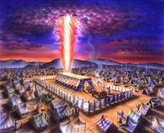 """Pillar of Fire and the Tabernacle. BIBLE SCRIPTURE: Deuteronomy """"And the LORD appeared in the tabernacle in a pillar of a cloud: and the pillar of the cloud stood over the door of the tabernacle. Images Bible, Bible Pictures, Tabernacle Of Moses, Pillar Of Fire, Arte Judaica, Feast Of Tabernacles, Prophetic Art, Biblical Art, Old Testament"""