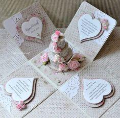 Wedding Cards Handmade, Greeting Cards Handmade, Explosion Box Tutorial, Exploding Gift Box, Christmas Gift Card Holders, Pop Up Box Cards, Magic Box, Wedding Anniversary Cards, Wedding Boxes