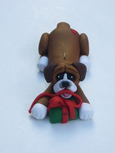 Boxer Dog Christmas Ornament Polymer Clay by HeartOfClayGirl