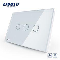 US/AU standard, Wireless-schalter VL-C303DR-81, Elfenbein Kristall Glasscheibe Touchscreen, Dimmer und Fernbedienung Home Wandlichtschalter