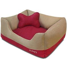 "Blueberry Pet Heavy Duty Microsuede Overstuffed Dog Bed Removable & Washable Cover w/YKK Zippers 25"" x 21"" x 10"" 6 Lbs Beige and Red Color-block Beds for Cats & Dogs"
