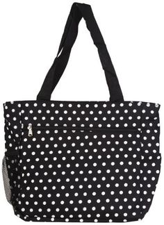 15a7c6fa05 Womens Large Polka Dot Beach Tote Weekender School Gym Travel Bag  BlackWhite   Find out more about the great product at the image link.