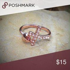Rose gold rhinestone heart & cross fashion ring Beautiful rose gold tone rhinestone fashion ring. Jewelry Rings