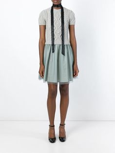 Red Valentino two-piece cable knit dress