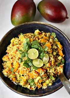 Vegan Indian Rice Salad with Mango-Lime Dressing - Indian Rice Salad with . - Vegan Indian Rice Salad with Mango-Lime Dressing – Indian Rice Salad with Mango-Lime Dressing – - Indian Food Recipes, Vegan Recipes, Ethnic Recipes, Side Dishes For Salmon, Spiced Rice, Vegan Curry, Mango Salad, Lime Dressing, Cilantro