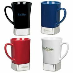 "12 oz. ceramic & stainless steel mug 12 oz. square-bottom design ceramic mug features an 18/8 stainless steel base, a comfort grip handle and non-slip base pad. *Exclusive Product*. 5 1/4"" W x 4 3/4"" H x 3 1/2"" D"