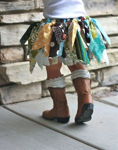 "girls ""scrap material"" tutu. Love the boots and high socks too"