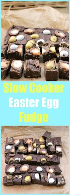 Use up your Easter chocolate and feed your Cadbury Creme egg addiction with my slow cooker Easter Egg fudge, a chocolatey indulgence! Best Dessert Recipes, Fun Desserts, Sweet Recipes, Holiday Recipes, Delicious Desserts, Yummy Food, Slow Cooker Fudge, Slow Cooker Desserts, Slow Cooker Recipes
