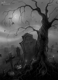 Halloween Graveyard, Halloween Artwork, Halloween Scene, Halloween Tags, Halloween Painting, Theme Halloween, Halloween Prints, Halloween Pictures, Halloween Wallpaper