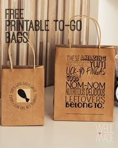 Free Printable To-Go Bags for Thanksgiving!