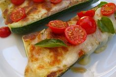Pizza-Stuffed Zucchini (its a no brainer to make this meatless)