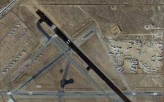 Aerial view of airliners in storage at Mojave Airport