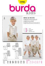 Burda Children's Sewing Pattern 9990 - Waistcoat, Shorts & Trouser Pants Ages: 2-8 Thumbnail 1