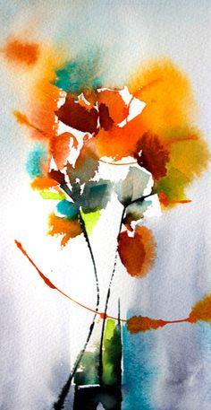 Petit instant N° 297 - Peinture,  20x10 cm ©2014 par Véronique Piaser-Moyen -                                                            Peinture contemporaine, Papier, Fleur, aquarelle, watercolor, piaser, piaser-moyen, fleurs, fleur, flower, flowers