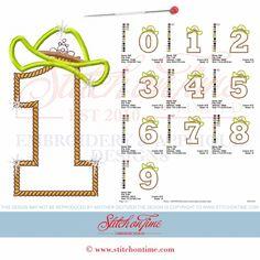Cowboy Numbers : 0-9 Applique 5x7