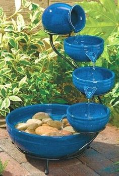 Blue Ceramic Cascade Solar Outdoor Water Fountain