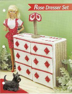 Rose Dresser Set Annies Attic Fashion Doll Plastic Canvas Club DollHouse Pattern