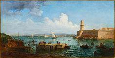 Raphaël PONSON, Pêcheurs à l'entrée du Vieux-Port, huile sur toile 93 x 179 cm