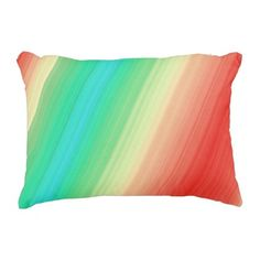 Red Yellow Green Blue Stripes Decorative Pillow - chic design idea diy elegant beautiful stylish modern exclusive trendy
