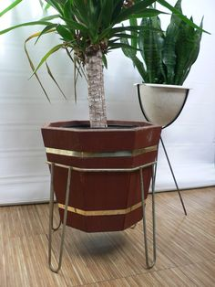 Special Offer -mid Century Octagonal Wood And Brass Metal Planter / Vintage…