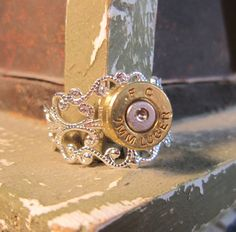9MM Filigree Bullet Casing Ring by MySmallEscape on Etsy, $14.50