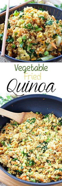 A healthier take on the classic fried rice! This vegetarian version combines tons of veggies with protein-packed quinoa for a delicious and filling meal.