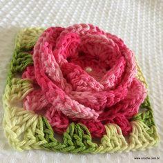 Flor roseta passo a passo -- http://www.croche.com.br/flor-roseta-passo-a-passo/