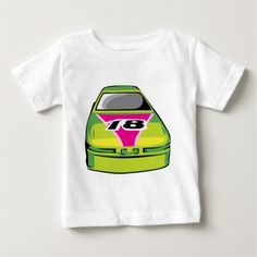 green race car baby T-Shirt - click/tap to personalize and buy Types Of T Shirts, Best Black, Stylish Baby, Baby Shirts, Consumer Products, Basic Colors, Cotton Tee, Baby Car, Race Cars