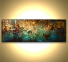 "Modern 60"" x 24"" ORIGINAL Abstract Painting Brown, Rust, Turquoise, Blue  Modern Palette Knife Acrylic Abstract by Osnat Tzadok"
