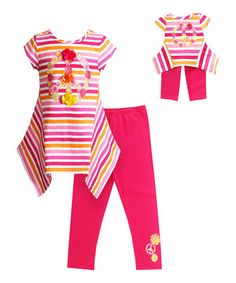 Another great find on #zulily! Pink & Orange Stripe Sidetail Tunic Set & Doll Outfit - Girls by Dollie & Me #zulilyfinds
