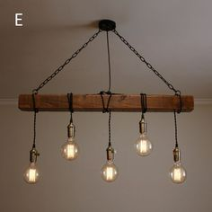 Handmade Rustic Wooden Chandelier – Wood Beam Industrial Pendant Lamp - All For Decoration Lampe Industrial, Industrial Chandelier, Rustic Lamps, Rustic Lighting, Industrial Lighting, Rustic Industrial, Home Lighting, Pendant Lamps, Industrial Hanging Lights