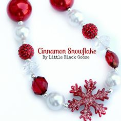 Items similar to Cinnamon Snowflake Red and White sparkly pearl Girls bead necklace on Etsy Chunky Bead Necklaces, Chunky Beads, Beaded Necklace, Kids Jewelry, Jewelry Crafts, Unique Jewelry, Chunky Girls, Girls Necklaces, Craft Shop