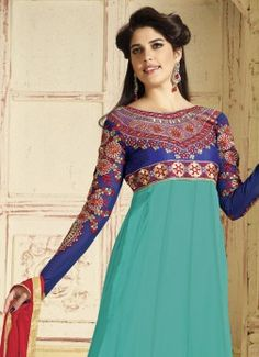 Groovy Cyan Embroidered Anarkali Suit buy best designer sarees collections,Best Deals On Womens Wear online store, Best Deals On Anarkali salwar Kameez, End of Season Sale on Designer Dress Matirials and Kurti #dress #salwarkameez #cotton #designer #readymad #fancydress #Anarkali #Paiala #Punjabi #Casual #Long #Cotton #long #saree #designer #printedsaree #casualwear #casualstyle #casualsaree #silksarees
