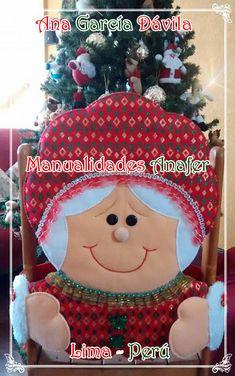 Hermosos muñecos navideños elaborados en paño lency estampado y cosidos a mano. Se adaptan a cualquier tipo de silla. ... Christmas Crafts, Christmas Ornaments, Snowman, Holiday Decor, Natal Diy, Home Decor, Patterns, Slipcovers For Chairs, Holiday Decorating