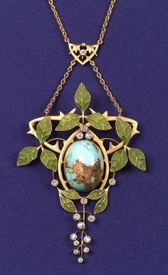 Art Nouveau 18kt Gold, Turquoise, Diamond, and Plique-a-jour Enamel Necklace