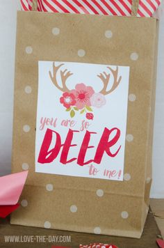 'Deer To Me' Valentine Card FREE Printable by Love the Day