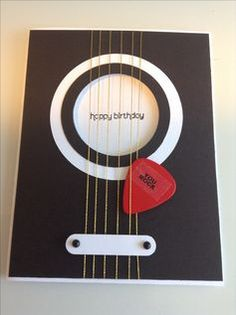 PIN IT FRIDAY FAVS: Masculine Birthdays this would be an awesome card for Clint….Guitar birthday card using real guitar pick, Stampin' Up! Word Window punch, Wishes Your Way happy birthday (Diy Birthday Cards) Bday Cards, Birthday Cards For Men, Man Birthday, Birthday Wishes, Birthday Greetings, Birthday Ideas, Birthday Images, Birthday Presents, Birthday Cake