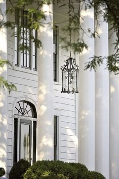 Hanging porch lighting on southern home