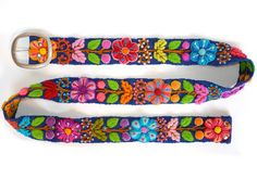 Floral embroidered belt Blue, belt black, belt white, belt brown, belt hand embroidered wool, colorful belts, woman belts