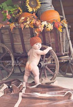 MUST do this photo for first year portraits! Wittle chubby bum is orange like a pumpkin too!