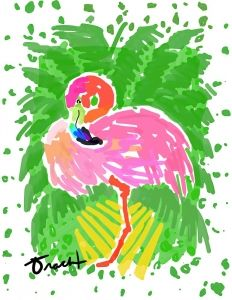 Pink Flamingo Traveller's Palm Artwork