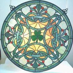 stained glass suncatchers   Shamrock Tiffany Style Stained Glass Suncatcher