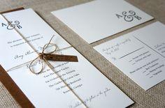 Rustic Monogram Wedding Invitations. , via Etsy. (Dawn Correspondance)