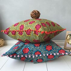 A personal favourite from my Etsy shop https://www.etsy.com/uk/listing/279970224/18-pom-pom-pillow-cover-african-home