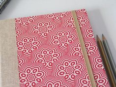 2017 Weekly Planner in Red Floral Pattern - A5 / Large Size - Made to Order