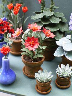 The Miniature Garden ~ faux succulent pots