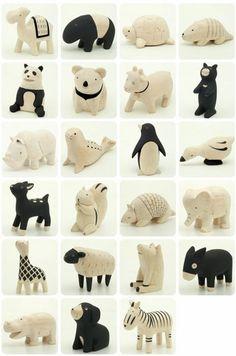Japonský designér J.Tanaka navrhl kolekci dřevěných zvířátek, která jsou vyřezávaná v ruce z tvrdého a lehkého dřeva Albizia Falcata (velm...