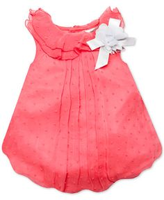 86fe4b8144e5 Baby Essentials Baby Girls  Coral Swiss Dot Bubble Romper Newborn Girl  Outfits